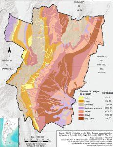 Áreas con riesgo de erosión. Prov. de Tucumán